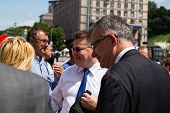 Lithuanian Foreign Minister Linas Linkevicius Meets With Protesters On Independence Square In Kiev
