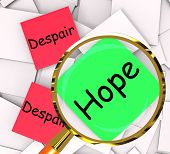 Hope Despair Note Papers Show Hoping Or Depression