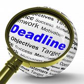 Deadline Magnifier Definition Means Job Time Limit Or Finish Dat