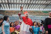 Archbishop Scola Waves 50.000 Teenagers At San Siro Stadium In Milan, Italy