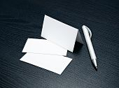 calling card, business card with white pen