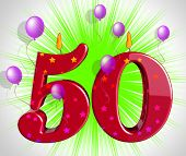 Number Fifty Party Show Fiftieth Birthday Candles Or Celebration