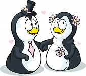 Penguins In Love - Vector Illustration Isolated On White Background