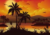 stock photo of tropical birds  - Tropical landscape - JPG