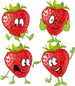 Strawberry Cartoon With Hands Isolated On White Background