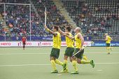 THE HAGUE, NETHERLANDS - JUNE 2: Australian players Govers, Gohades and Hammond celebrating a goal d
