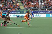 THE HAGUE, NETHERLANDS - JUNE 2: Dutch van As is passing the Belgium defense of the Belgium team dur
