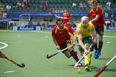 THE HAGUE, NETHERLANDS - JUNE 2: Australian Hammond is playing the bal while Spanish player Salles i