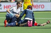 THE HAGUE, NETHERLANDS - JUNE 2: Doctors tend to injured England player Ashley Jackson during the Ra