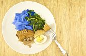 Eating Blue Rice Noodle Gravy Vegetarian With Fork Wood Background