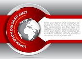 Vector red background for brochure or flyer with a globe. Suitable for spedition, transport and travel company.