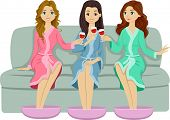 Illustration of Female Teens Doing a Toast While Relaxing in a Spa