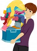 Illustration of a Male College Student Carrying a Pile of Laundry