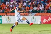 Sisaket Thailand-may 28: Therdsak Chaiman Of Chonburi Fc. Shooting The Ball During Thai Premier Leag