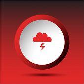 Storm. Plastic button. Raster illustration.