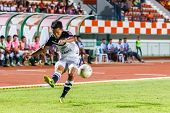 Sisaket Thailand-may 28: Chonlatit Chantakam Of Chonburi Fc. Crossing The Ball During Thai Premier L