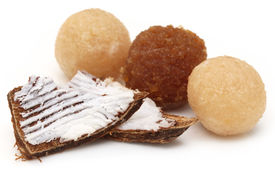 picture of laddu  - Traditional coconut laddu of Southeast Asia with broken fruits - JPG