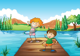 picture of hulahoop  - Illustration of the two kids playing hulahoop at the river - JPG