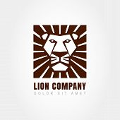 Lion Head Logo Template, Symbol Of Strength, Power, Guard And Security. Abstract Design Concept For