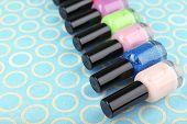 Colorful nail polishes, close-up