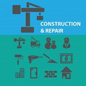 construction, repair icons, signs, objects set, vector
