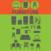 furniture, home place, workplace, interior icons, signs, illustrations set, vector