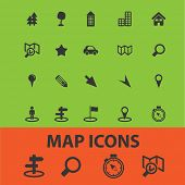 map, route icons, signs, illustrations set, vector