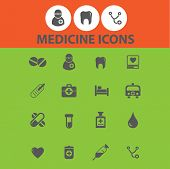 medicine, health icons, signs, illustrations set, vector