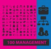 100 management, marketing, retail, organization icons, signs, illustrations set, vector