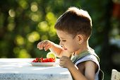 Little Boy Eating Red Currants