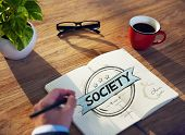 Businessman's table with Society Concept