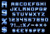 Alphabet, Numbers, Currency And Symbols Pack, Rectangular Beveled Blue Metal Font