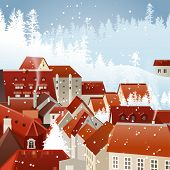 Winter city landscape with tiled roofs