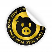 Vector Pork Meat Bent Sticker