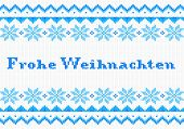 Blue And White German Christmas Knit Greeting Card