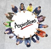 Multi-Ethnic Group of People and Aspirations Concepts