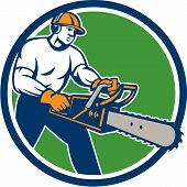 Lumberjack Tree Surgeon Arborist Chainsaw Circle