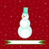 Christmas illustration of a snowman on a red background