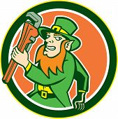 Leprechaun Plumber Wrench Running Circle