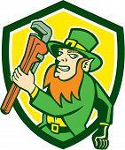 Leprechaun Plumber Wrench Running Shield