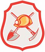 Miner Hardhat Spade Pick Axe Shield Retro