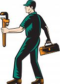 Plumber Walking Carry Toolbox Wrench Woodcut