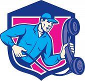 Telephone Repairman Holding Phone Shield Retro