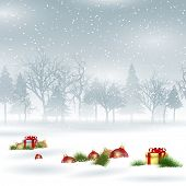 Christmas landscape background with baubles and gifts nestled in snow