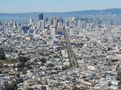 Aerial view of San Francisco with Mountains