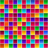 Colorful Childish Rainbow Colored Squares, Seamless Vector Pattern