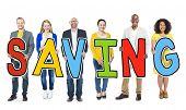 Multiethnic Group of People Holding Saving