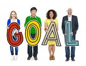 Multi-Ethnic Group of People Holding Text Goal
