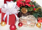 Christmas Gifts And Decorations On A White Background