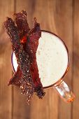 jerky beef with beer - homemade dried cured spiced meat